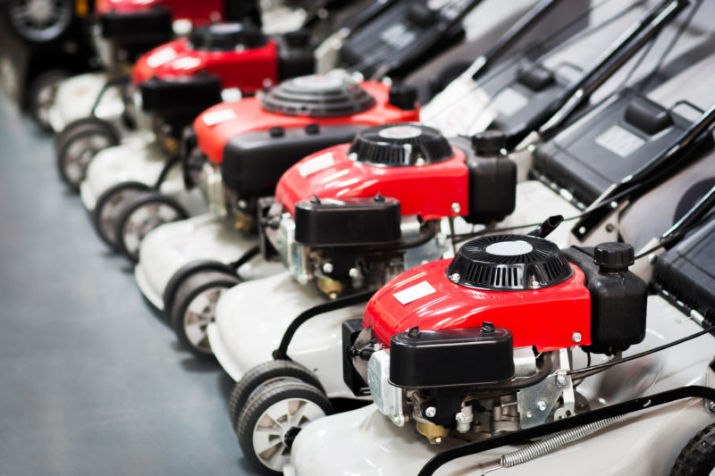 lawnmowers lined up for sale